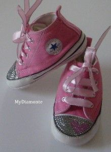 pink baby converse featuring clear swarovski crystals toddler kids