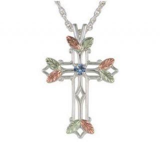 Black Hills Birthstone Cross Pendant, Sterling/12K Gold —
