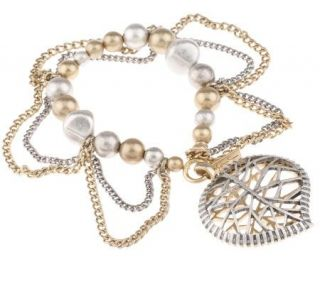 Jessica Simpson Leaf Collection Heart Stretch Bracelet —