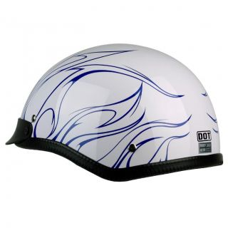 PGR B31 Convict White Blue Motorcycle Dot Approved Half Helmet Chopper