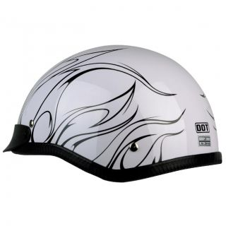 PGR B31 Convict White Black Motorcycle Dot Approved Half Helmet