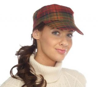 Isaac Mizrahi Live! Plaid Paper Boy Cap with Adjustable Bow —