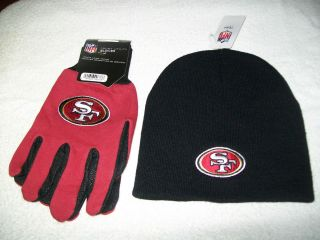 SAN FRANCISCO 49ERS NFL FOOTBALL WINTER BEANIE HAT AND GLOVES GIFT SET