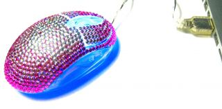 Pink Splash Crystal Rhinestone USB Computer Mouse