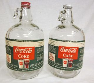 Vintage One Gallon Coca Cola Coke Syrup Jug w Original Paper Label