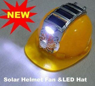 Solar Safety Helmet Hard Hat Cap Cooling Cool Fan 8 LED Light