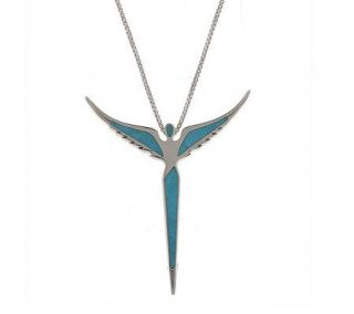 Sterling Turquoise Angel Pin/Pendant w/20 Chain by Steven Lavaggi