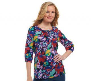 Liz Claiborne New York Floral Printed Smocked Neck Tunic   A224025