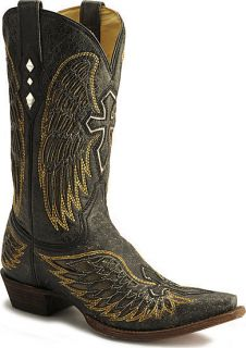 Corral Winged Mens Western Boots Black Gold Silver Cross Inlay A1962