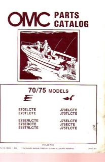 1983 Evinrude Johnson 70 75 HP Outboard Motor Parts Catalog
