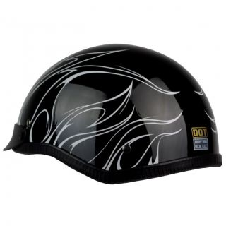 PGR B31 Convict Black White Motorcycle Dot Approved Half Helmet