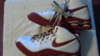 Mens Boys Pre Owned Red White Size 8 Nike Hi Top Basketball Shoes