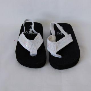 Corkys Girls White Sequin Flip Flops Sandals Size 6 Child Youth Kids