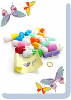 Plastic Pill Contains Message Letter Paper Glass Vials Bottle 100pcs 6