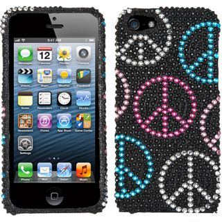 Multi Colored Peace Sign Rhinestone Bling Case Crystal Cover for Apple