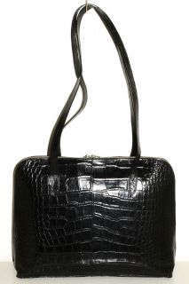 Conte Max Black Croco Embossed Leather Shoulder Bag