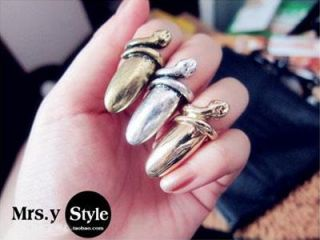 Lady Gaga Fashion Punk Cool Finger Nail Snake Design Rings Bronze H34
