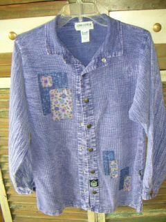Ezze Wear Purple Cord Cotton Tie Dye Wash Long Sleeve Shirt Blouse
