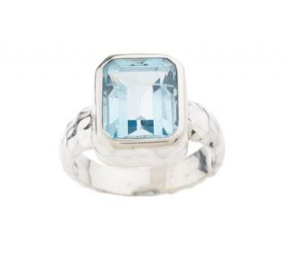 Artisan Crafted Sterling 4.45ct Blue Topaz Emerald Cut Ring —