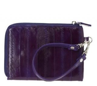 Lee Sands Eelskin Zippered Wristlet Organizer —