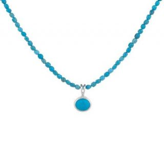 Sterling Sleeping Beauty Turquoise Pendant with Bead Strand —