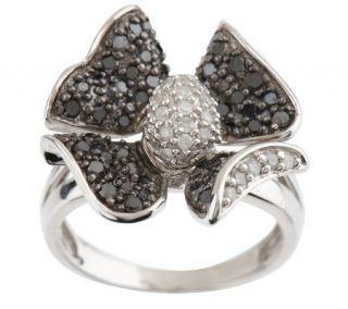 AffinityDiamond Skylit 1.00 ct tw Black & White Flower Ring —