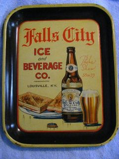 Falls City Advertising Beer Tray H D Beach Co Coshocton O USA