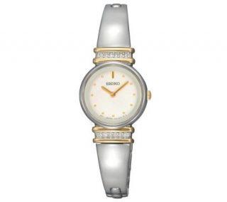 Seiko Ladies Crystal Silvertone Watch   White Dial —