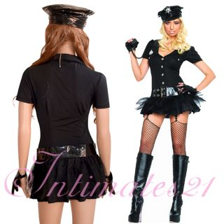 Sexy Cop Girl Police Officer Costume Tutu Dress & Hat/Gloves Halloween