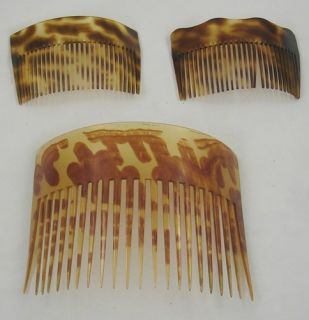 Faux Tortoise Shell Hair Comb Set Combs Imitation Brown Retro