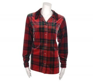 Denim & Co. Plaid Stretch Velvet Big Shirt —