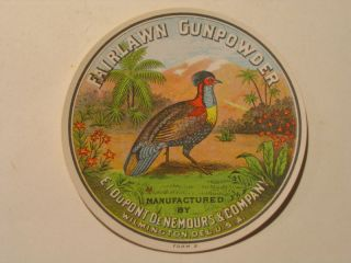 Vintage Fairlawn Gunpowder Label Dupont Pre War Upland Game Fowl Mint