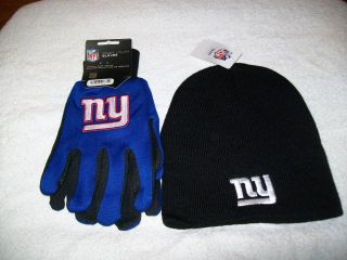 New York Giants NFL Football Winter Beanie Hat and Gloves Gift Set NWT