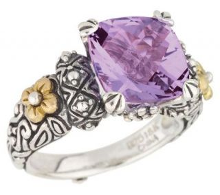 Barbara Bixby 3.80 ct Amethyst Cushion Cut Ring, Sterl/18K —