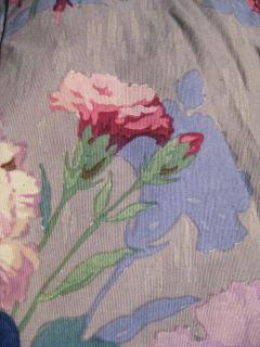 Vtg 40s 3 Panel Purple Shabby Floral Roses Drape Fabric