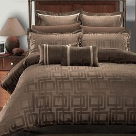 Janet 7 PC King Duvet Cover Set by Royal Hotel Collection Brown and