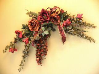 Silk Floral Arrangement Flower Swag Burgundy Gray