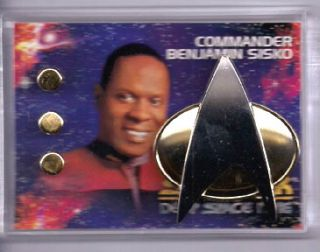 Commander Sisko Star Trek Deep Space 9 Communicator Pin Rank Pip Set