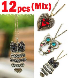 12pcs Fashion Copper jewelry Gift Vintage Owl Pendant Necklace Lots