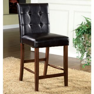 Solid Wood Dark Oak Finish Counter Height Leatherette Dining Chairs