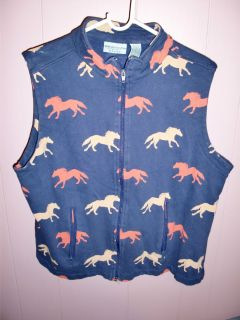 Vintage Wrangler Blues Country Western Cowboy Horse Blue Womens Vest