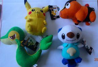 Nintendo Pokemon Plush Lot Pikachu Oshawott Tepig Snivy