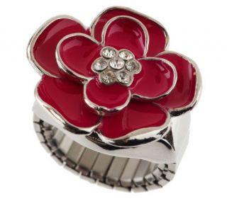 Jeweled Flower Stretch Ring Watch —