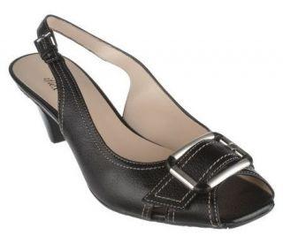 AK Anne Klein Leather Open Toe Buckle Detail Slingback Shoes