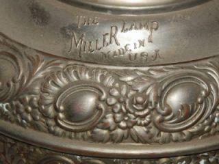 Miller Lamp Company Antique Oil Kerosene Table Lamp Embossed Ornate
