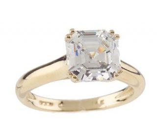 Diamonique 2.50 ct tw Asscher Cut Solitare Ring 14K Gold —