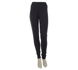 LOGO by Lori Goldstein Leggings with Faux Leather Detail   A227458