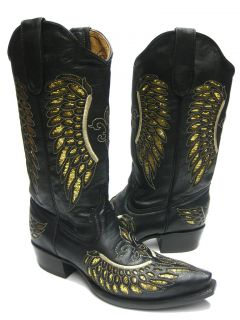 Womens Ladies Black Leather Cowboy Boots Sequins Western Rodeo Riding