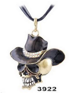 Cowboy Hat Skull Pendant Necklace Antique Bronze Brass Inlay