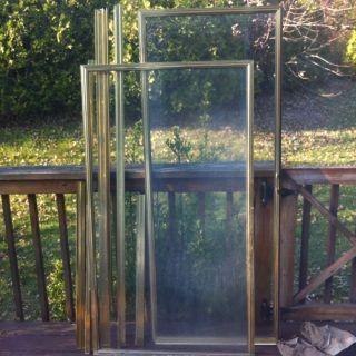 Door 90 deg Angle Corner Shower Enclosure with Polished Brass Frame